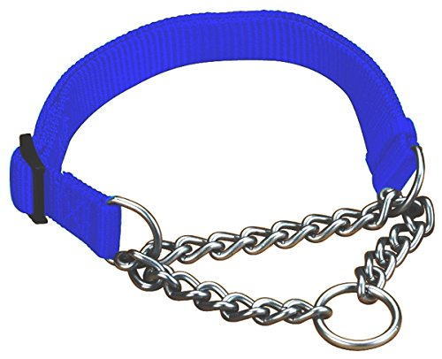 (Hamilton 1 by 20 to 32-Inch Adjustable Combo Choke Dog Collar, Large, Chain and Blue Nylon)