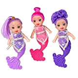 Kidsco Mini Mermaid Doll Set - 12 Pack - 4 Inch - Cute Assorted Color Mermaids, For Kids Boys and Girls Parties, Birthdays, Pretend Play, Theme Parties, Gifts