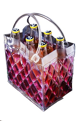 Zees Inc Pocket Bottles Freezable Tote (6 Pack), Purple