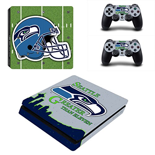 Vanknight PS4 Slim Console Dualshock Controllers Skin Set Vinyl Decal Sticker for Playstation 4 Slim (Seahawks Controller)