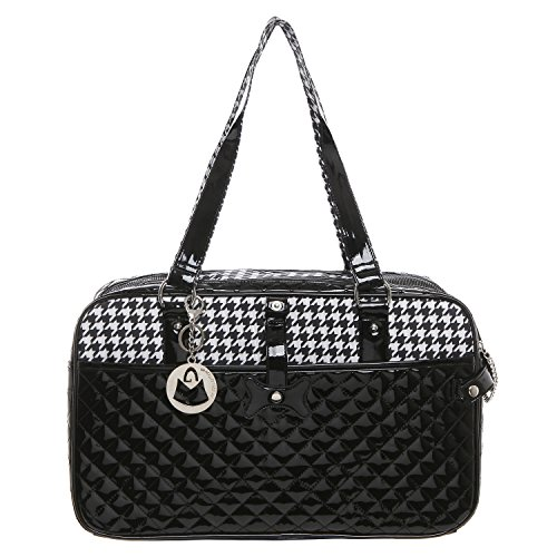 MG-Collection-Quilted-Designer-Black-White-Hounds-Tooth-Pet-Travel-Tote-Soft-Sided-Dog-Cat-Carrier