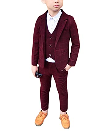 Niño Chico Conjunto Traje Tres Piezas Plaid Blazer Chaleco Pantalones Formal Set