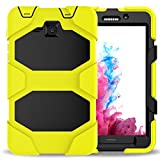 Samsung Galaxy Tab A 7.0 Case, Teenystar 3 in 1 Slim Heavy Duty Shockproof Rugged Case High Impact Resistant Defender Full Body Protective Cover with Kickstand for SM-T280/T285. (Yellow)