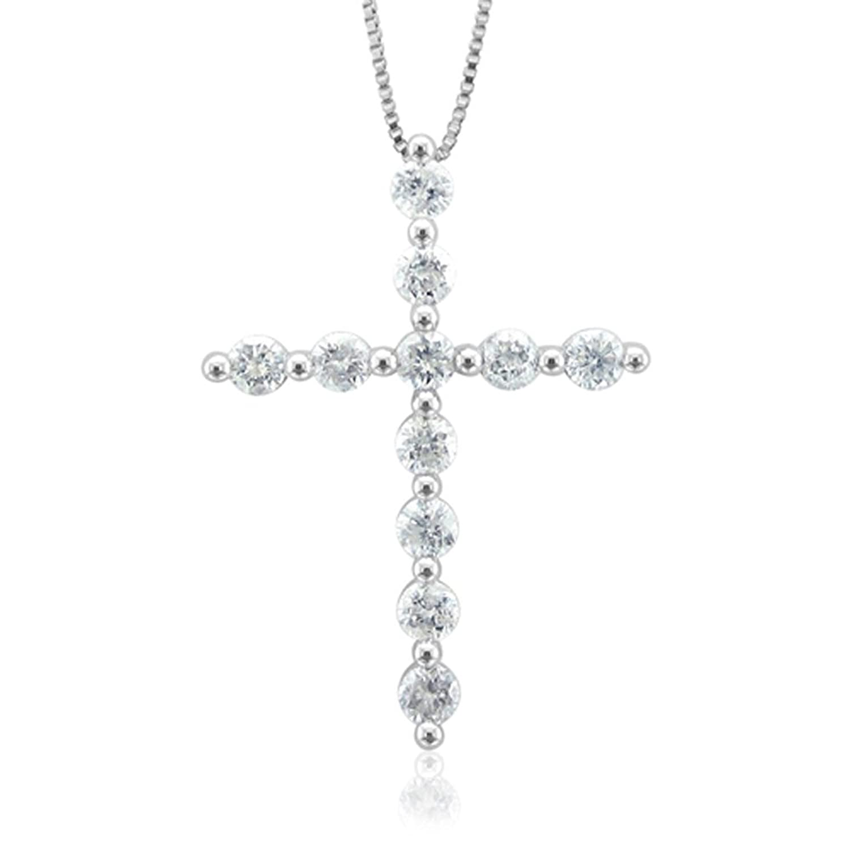 IGI Certified 14k White Gold Cross Diamond Pendant Necklace (1/2 Carat )
