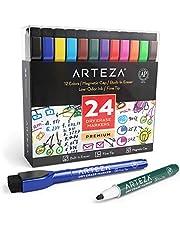 ARTEZA Rotuladores magnéticos con borrador para pizarra | Caja de marcadores de colores | Colores surtidos, 24 unidades | Rotuladores borrables para escuelas, oficinas y hogares