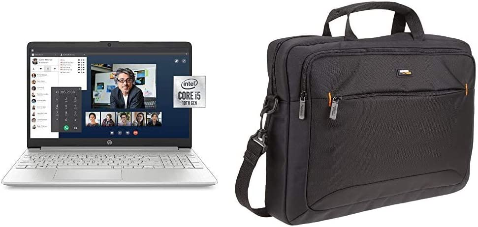 HP 15-Inch FHD Laptop, 10th Gen Intel Core i5-1035G1, 8 GB RAM, 256 GB Solid-State Drive, Natural Silver with AmazonBasics 15.6-Inch Laptop Computer & Tablet Shoulder Bag Carrying Case, Black