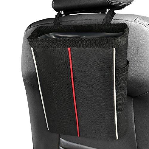 Wingogo Waterproof Car Trash Can - Premium Waterproof Litter Garbage Bag with Side Pocket(Black)