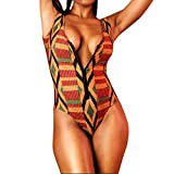 Toping Fine Sexy Rompers for Women Zipper Deep V-Neck Jumpsuits Geometric Printing Swimwear, Large, Multicolor