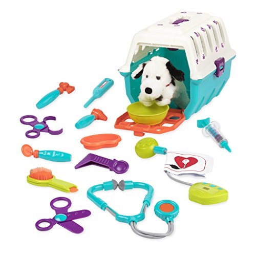 - Battat - Dalmatian Vet Kit - Interactive Vet Clinic and Cage Pretend Play for Kids (15 pieces)