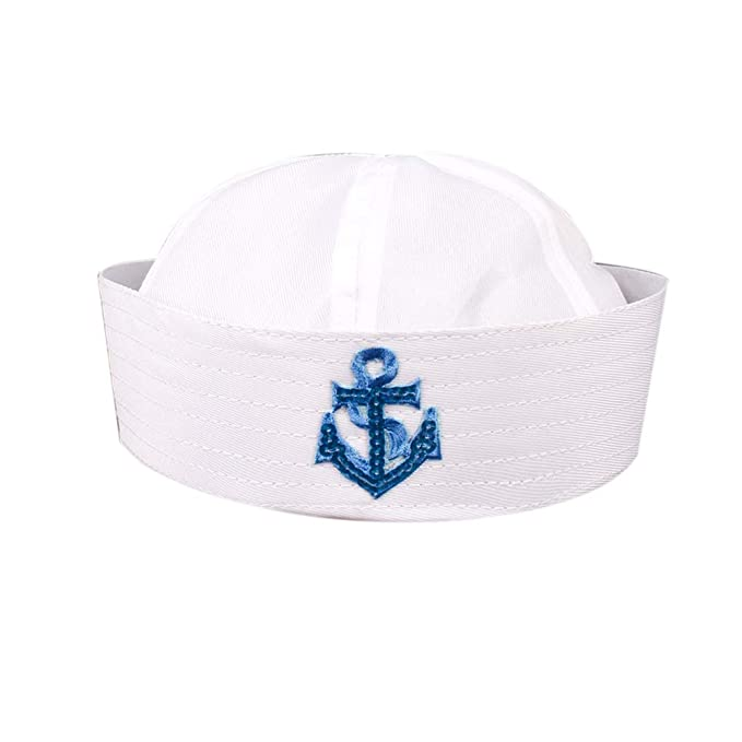Adults Children White Sailor Cap Gob Hat Doughboy Navy Cosplay Party Costume