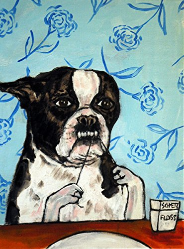 boston terrier flossing bathroom decor signed dog art print gift - Boston Terrier Artwork
