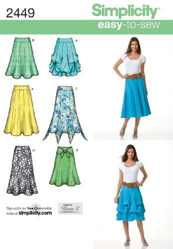 Simplicity Easy-to-Sew Pattern 2449 Misses Pull-on Skirts in 2 Lengths Designs by Karen Z Size 6-8-10-12-14