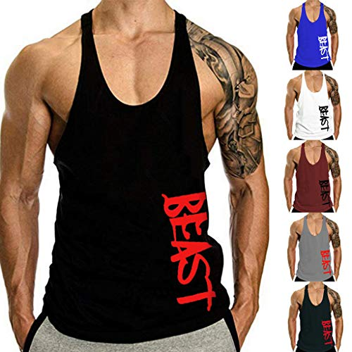 Men's Summer Dry Fit Fitness Beast Letter Printed Solid I-Shaped Training Cotton Blouse Tank Top (L, Black)
