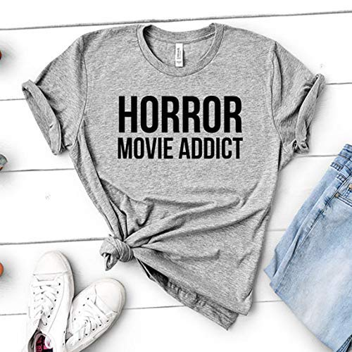 Horror Movie Addict | Funny Gift for Halloween, Move Night Shirt - Unisex Womens Heather -