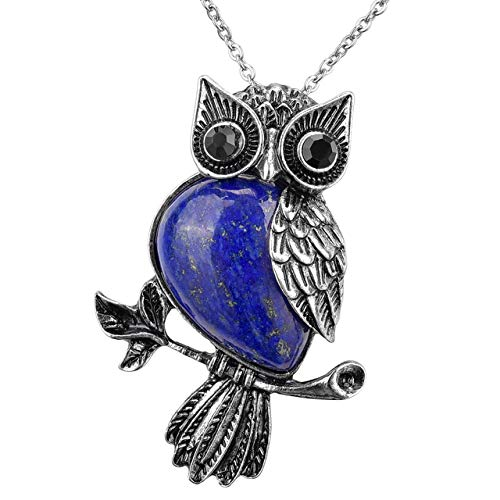 - MANIFO Vintage Crystal Owl Pendant Necklace, Womens Gemstone Pendant Jewelry with Chain (Dyed Lapis Lazuli)