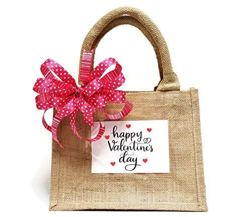 Valentines Day Gift Bag - Burlap Tote Bag with Handcrafted Polka Dot Bow - Jute Tote Bag - Rustic Chic - Perfect for Gift Baskets - Reusable Tote Bag (Bow Comfy)