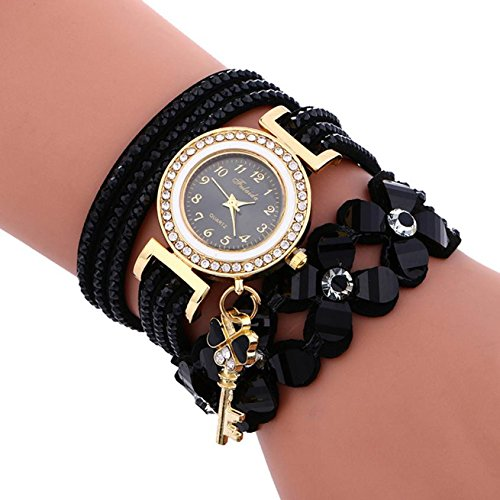 Womens Watch,Stylish Wrap Around Chimes Diamond Bracelet Padlock Leather Wristwatch Axchongery (Black)