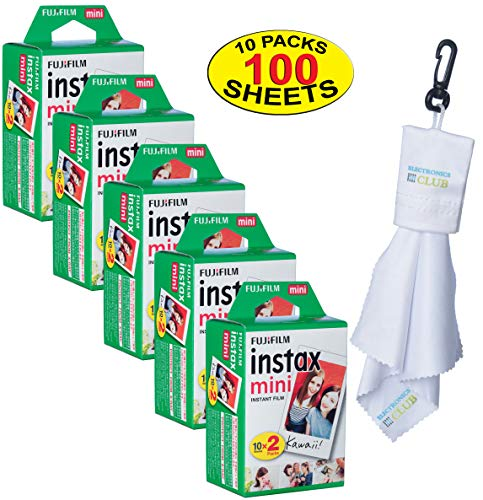 Fujifilm 5 Twin-Packs of 10 Instax Mini Film (100-Sheets) | Designed for Mini 8 / Mini 9 Camera | Develops and Prints Photos Instantly | -Bonus- Free Lens Cleaner Microfiber -
