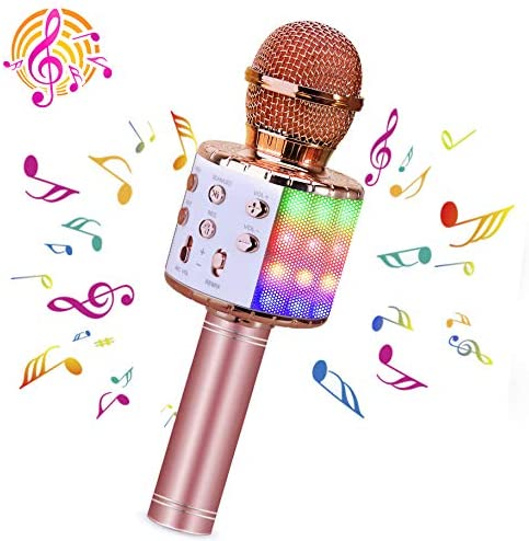 BlueFire Bluetooth 4 in 1 Karaoke Wireless Microphone with LED Lights, Portable Microphone for Kids, Best Gifts Toys for Kids, Girls, Boys and Adults (Pink)