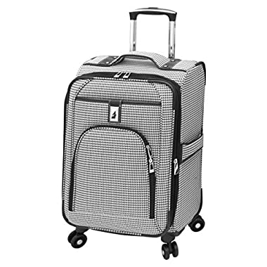 London Fog Cambridge 21 Inch Expandable Carry On, Black/White