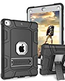 iPad 9.7 Case 2018/2017,iPad 5th/6th Generation Case,DUEDUE Shockproof Heavy Duty Rugged 3 in 1 Anti-Slip Full- Body Protective Case with Kickstand, Black