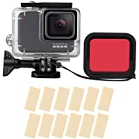 T Tersely Housing Case with Red Filter, 16in1 Anti-Fog Inserts Strip for GoPro Hero 7 White/Silver, Waterproof Case…