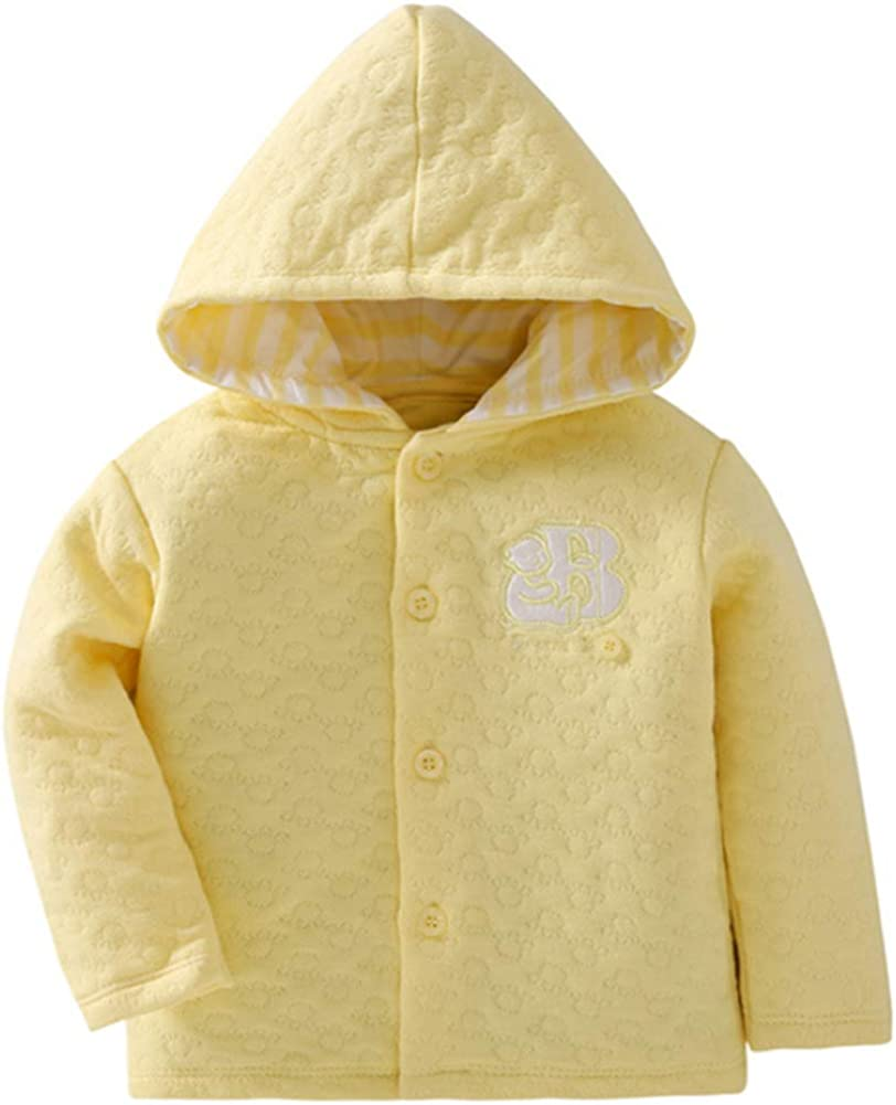 Baby Toddler Girls Premium Hoodie Jacquard Cotton Jacket Long Sleeve Button Coat Sweet Yellow Pink Outwear