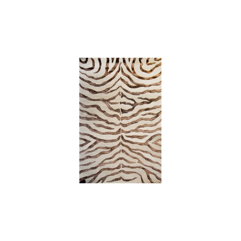 NuLoom Safari Contemporary Zebra Print with Faux Silk Highlights 5 Foot x 8 Foot Wool with Faux Silk Highlights Area Rug, Brown