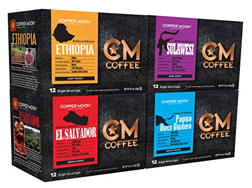 Copper Moon Coffee Single Serve Pods for Keurig 2.0 K-Cup Brewers, Variety Pack Single Origin (12 Ethiopian, 12 Sulawesi, 12 El Salvador, 12 Papua New Guinea) 48 Count