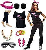 Women's I Love The Pink Ladies 50s T-Shirt Complete 50s 80s Costume Set (L/XL, Black)