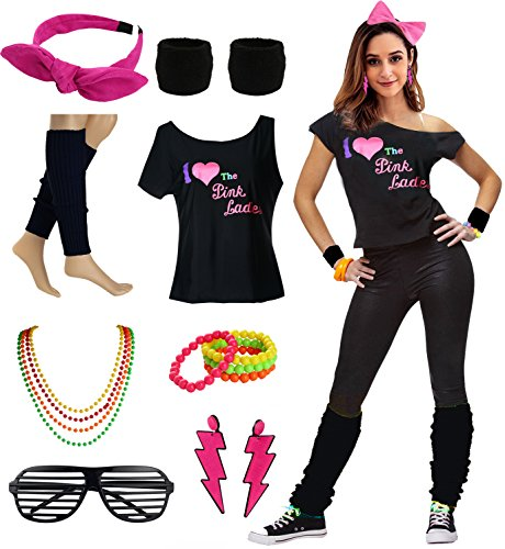 (Women's I Love The Pink Ladies 50s T-Shirt Complete 50s 80s Costume Set (S/M,)