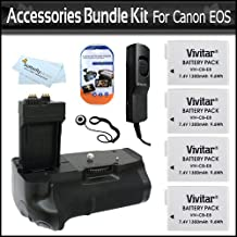 Replacement BG-E8 Battery Pack Grip / Vertical Shutter Release for Canon T4i, (650D), T2i (550D), T3i Digital SLR Camera + 4 High Capacity (1700 Mah) LP-E8 Replacement Batteries + Remote Shutter Release + LCD Screen Protectors + Lens Cap Keeper + More