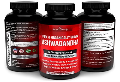 Organic Ashwagandha Capsules 1200mg Ashwagandha Powder with Black Pepper for Enhanced Absorption Ashwaganda Supplement for Anti Anxiety, Adrenal Support, Cortisol Manager, Stress and Anxiety Relief 90 Vegetarian Caps