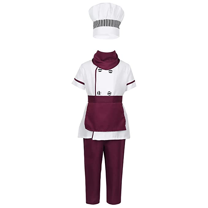 Amazon.com: DPois - Conjunto de ropa de uniforme de chef de ...