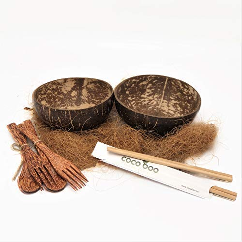 Cocoboo - Complete Gift Set, real coconut shell bowls, artisan handmade, salad/smoothies bowl (includes 2 smooth bowls, 2 spoons, 2 forks, 2 pairs of chopsticks) (Shell Salad Fork)