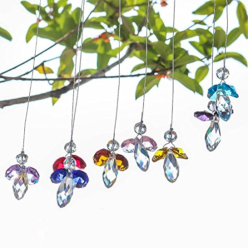 H&D Crystal Guardian Angel Suncatcher Hanging Rainbow Maker Ball Prisms for Window (Angel Hanging Crystal)