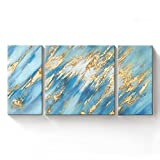 EZON-CH Hand Painted Framed Abstract Sea Oil Painting Blue Gold Foil Embellishment 3-Piece Gallery-Wrapped Large Canvas Wall Art 48Inch Total