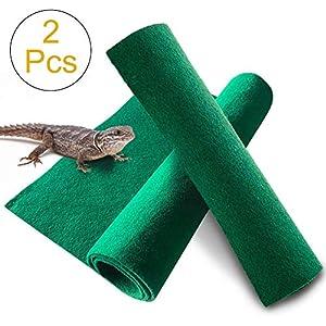 Reptile Carpet 39.4″ x 19.7-2pcs Terrarium Substrate Liner Pet Habitat Bedding Soft Green Mat for Bearded Dragon Lizards Gecko Chamelon Iguana Turtles Snakes