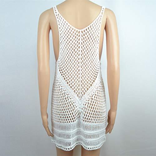 Maniche A Puseky Da Scollato Donna Crochet V Vestito In White Lunghe Con Senza Scollo LAjq5R34