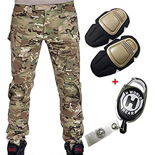 H Welt EU Pantalon militaire pour homme, pantalon avec genouillères pour jeux de stratégie, airsoft, paintball, tir… 1