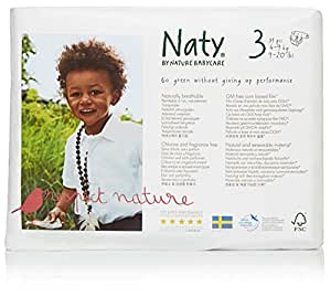 Naty by Nature Babycare Eco-Friendly Disposable Baby Diapers, Size 3, 4 packs of 31 (124 diapers)