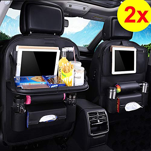 Car Back seat Organizer with Foldable Table Tray, PU Leather Car Back seat Organizer for Babies Toys Storage with Foldable Dining Table Holder Pocket (PU-2 Pack)