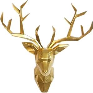 Deer Head Wall Art - Geometrial Deer Head Sculpture Home Decor (Gold, XL)
