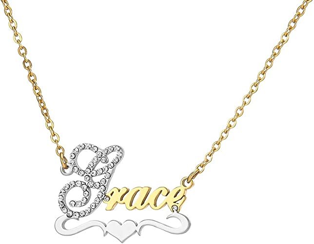 Personalized Name Heart Necklace Engraving Monogram Necklace for Woman