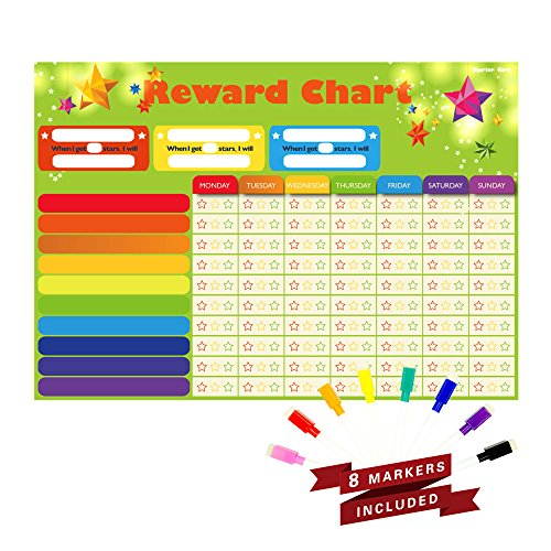 "Magnetic Refrigerator Dry Erase Board Reward,Star,Resoposibility,Behavior, Chore Chart with 8 free colorful markers for One or Multiple Kids, Toddlers or Teens.16"" X 13"". Flat Pack."