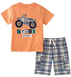 Kids Headquarters Boys' Toddler 2 Pieces Short Set, Orange 3T