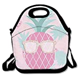 Dozili Pink Pineapple With Sunglasses Large & Thick Neoprene Lunch Bags Insulated Lunch Tote Bags Cooler Warm Warm Pouch With Shoulder Strap For Women Teens Girls Kids Adults