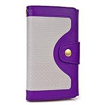 Cooper Cases(TM) Tatami Universal BlackBerry Z3 / Z30 / Leap Smartphone Wallet Case in Purple (Woven Pattern, Screen Protector, Card Slots, ID Holder, Billfold)