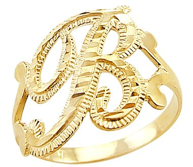 "Size T 14ct Yellow Gold Initial Letter Ring ""B"" Amazon"