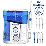 Nicefeel Upgrade UV Sterilize Water Flosser, Quiet Design 1000ml High-Volume 10 Adjustable Presure Countertop Denten Oral Irrigator with 7 Multifunctional Tips for Family FDA Approved